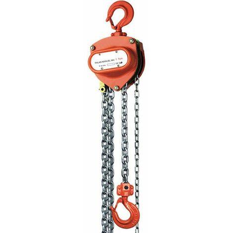 Palan manuel à chaîne - Capacité 500 à 10 000kg max (plusieurs tailles disponibles)
