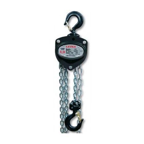Palan manuel levex - Hauteur de levée : 6 mètres - Capacité : 500 kg - Bac à chaîne : oui