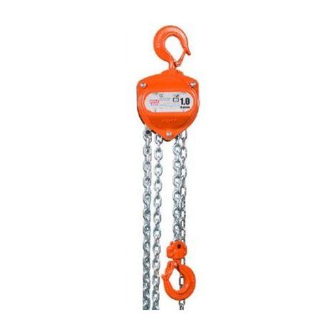 Palan manuel X-line - Hauteur de levée : 5 mètres - Capacité : 1000 kg - Bac à chaîne : oui