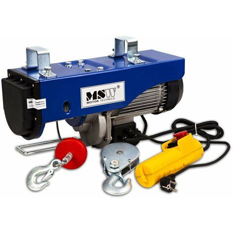 Palan treuil électrique pro avec télécommande 1 300 W 400/800 kg outils atelier garage - Noir