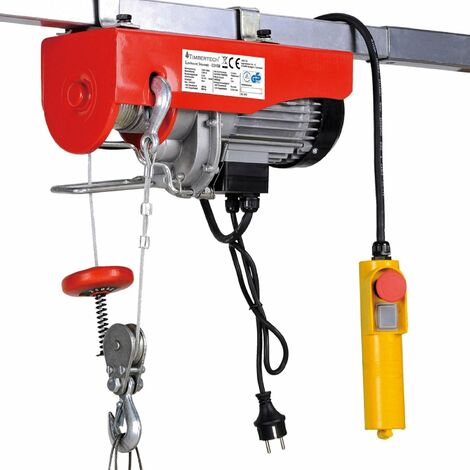 Palan treuil électrique pro avec télécommande 500 W 100/200 kg outils atelier garage - Noir