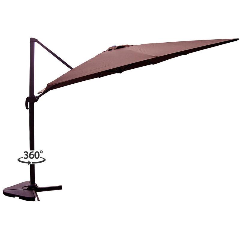 Concept-usine - Palatino chocolat : Parasol déporté, carré de 3x3m, rotatif à 360°