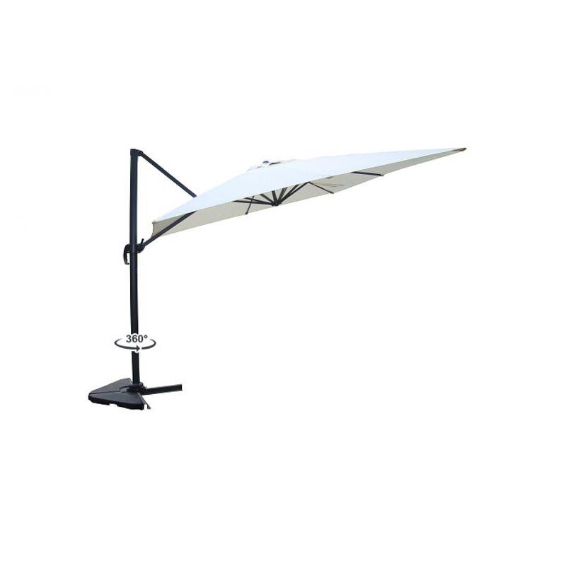 Concept-usine - Palatino écru : Parasol déporté, carré de 3x3m , rotatif à 360°