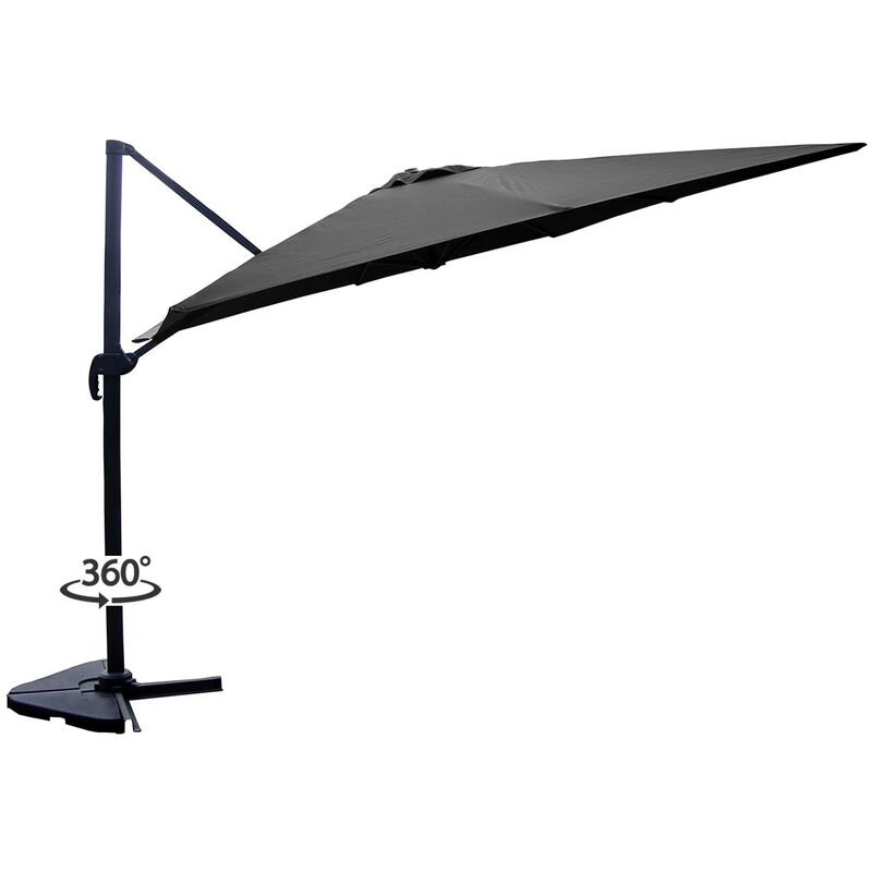 Palatino gris : Parasol déporté, carré de 3x3m, rotatif à 360°