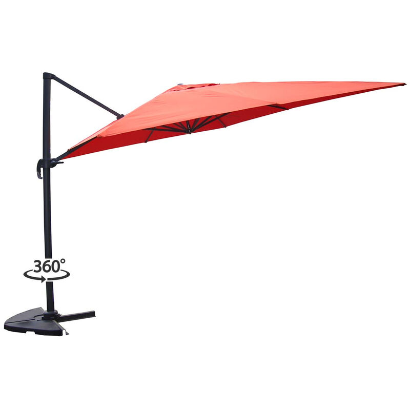 Concept-usine - Palatino terracotta : Parasol déporté, carré de 3x3m , rotatif à 360°