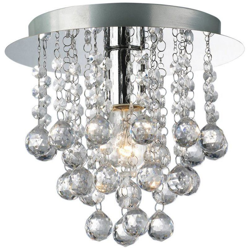 Image of 09-097 Palazzo 1 Light Round Acrylic Flush Ceiling Chandelier In Polished Chrome