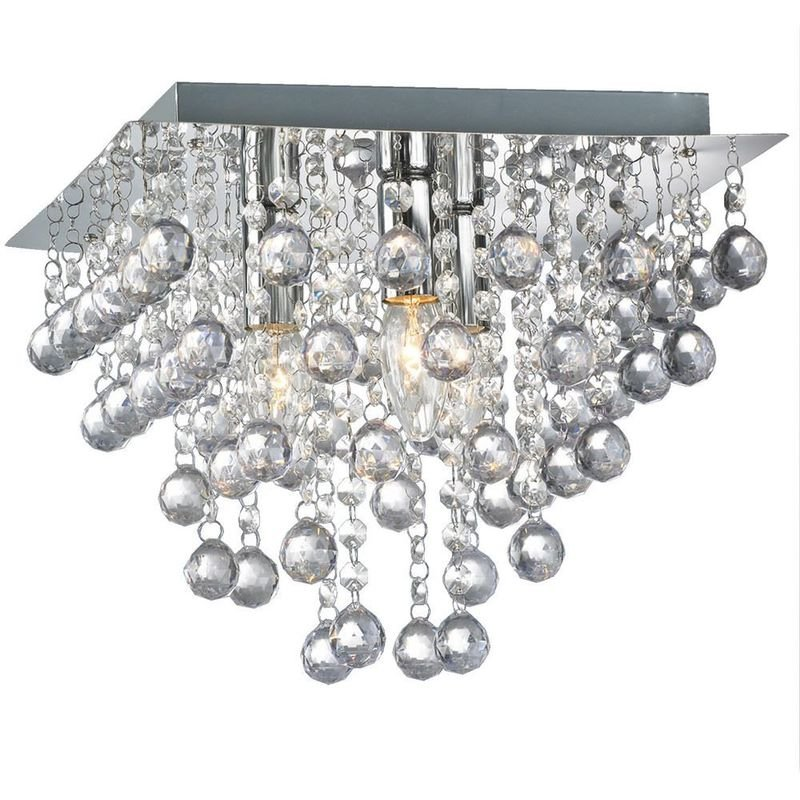 Image of 09-099 Palazzo 3 Light Square Acrylic Flush Ceiling Chandelier In Polished Chrome