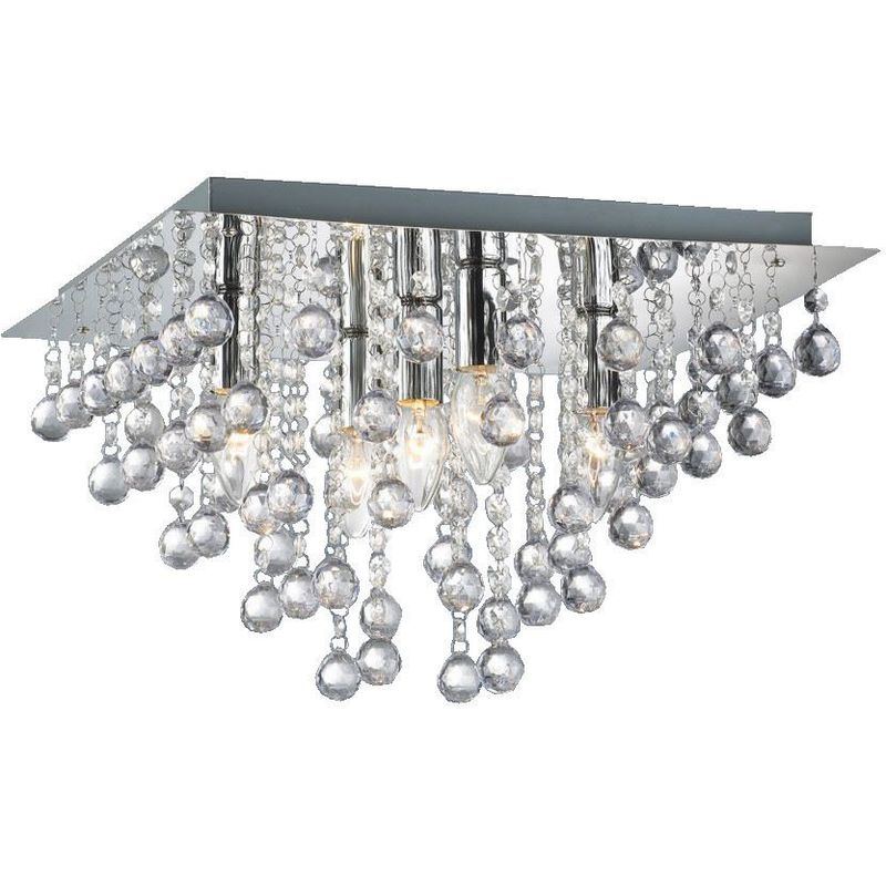 Image of 09-100 Palazzo 5 Light Square Acrylic Flush Ceiling Chandelier In Polished Chrome