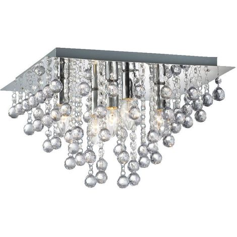 Palazzo 5 Light Square Acrylic Flush Ceiling Chandelier In Polished Chrome