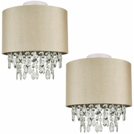 Pale Gold or Silver Faux Silk Fabric Jewelled Ceiling Light Shade Flush Shade