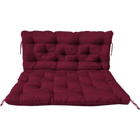 Palettenkissen mit Rückenkissen Sitz und Rückenlehne mit Bänder 120 x 140 cm Polsterauflage Polsterauflage bordeaux rot