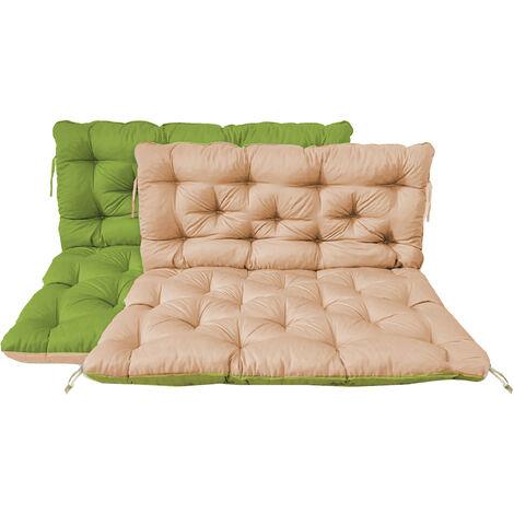 Palettenkissen mit Rückenkissen Sitz und Rückenlehne mit Bänder 120 x 140 cm Wendeauflage Polsterauflage Polsterauflage Wendekissen grün beige