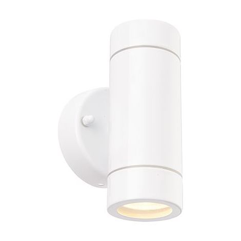 Palin 2Lt Outdoor Ip44 7W Wall Light In Gloss White Paint Stainless Steel