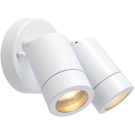 Palin Exterior Gloss White Finish Twin Ip44 Adjustable Wall Spot Light
