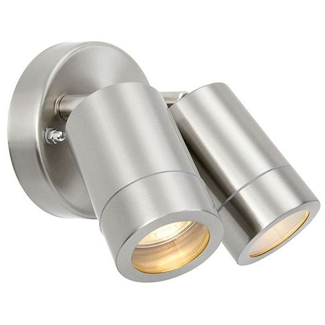 Palin Outdoor Silver Brushed Stainless Steel Twin Ip44 Adjustable Wall Light