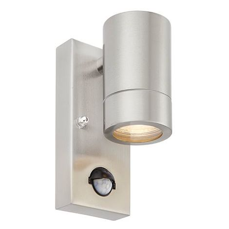 Palin Pir 7W Brushed Stainless Steel Ip44 Outdoor Garden Wall Downlight