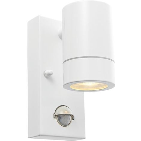 Palin Pir Security Outdoor 1Lt Wall Light Ip44 7W With Gloss White Finish