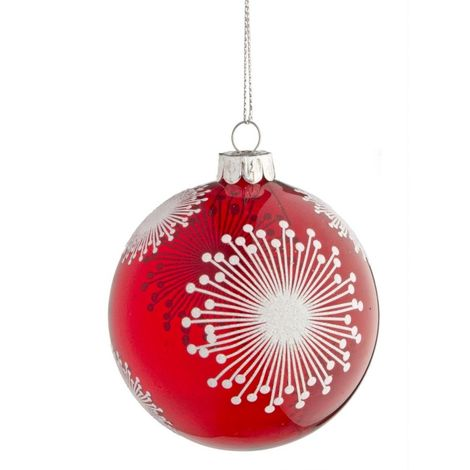 Foto Fiocchi Di Natale.Pallina Di Natale In Vetro Rosso Con Fiocchi Di Neve