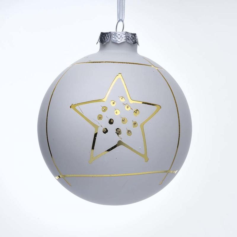 Palline Di Natale Di Vetro Bianche Con Disegno Oro Plv10020