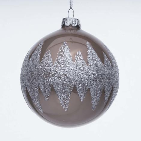 Immagini Di Natale Glitter.Palline Di Natale Di Vetro Marrone Chiaro Con Glitter
