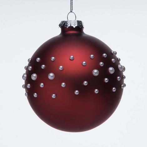 Immagini Palle Di Natale.Palline Di Natale Di Vetro Rosse Con Perline Bianche