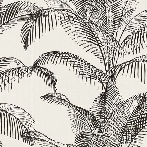 Palm Black White Wallpaper Rasch Paste The Wall Textured Vinyl Trees