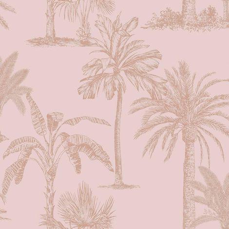 Palm Tree Wallpaper Blush Pink Rose Gold Metallic Tropical Shimmer Holden Decor
