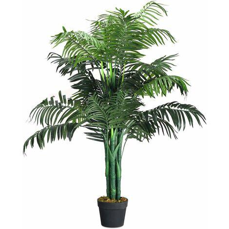 Palma Artificiale, Pianta Tropicale Artificiale in Vaso da Arredo Interno ed Esterno, Altezza di Circa 110 cm