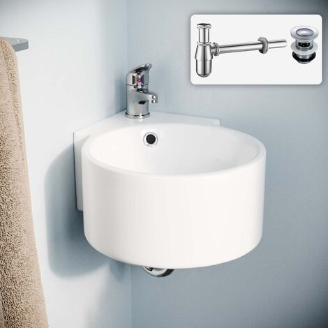 Palmer 310mm Bathroom Wall Hung Ceramic Corner Basin Sink Bottle Trap And Waste