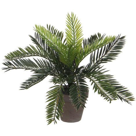 Palmera sago (cyca revoluta) pvc con maceta gris 33x11.5cm