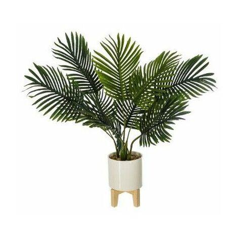 Palmier artificiel avec son pot en céramique surélevé - H 72 cm - Livraison gratuite