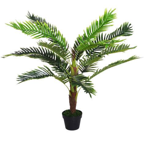Palmier artificiel hauteur 123 cm arbre artificiel décoration plastique fil de fer pot inclus vert