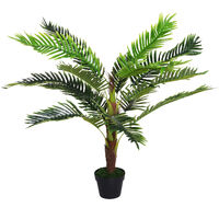 Palmier artificiel hauteur 123 cm arbre artificiel décoration plastique fil de fer pot inclus vert