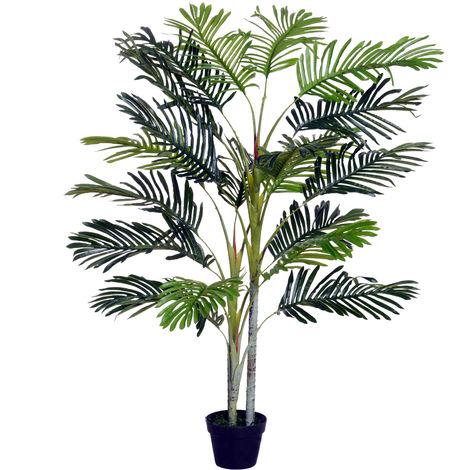 Palmier artificiel hauteur 150 cm arbre artificiel décoration plastique fil de fer pot inclus vert