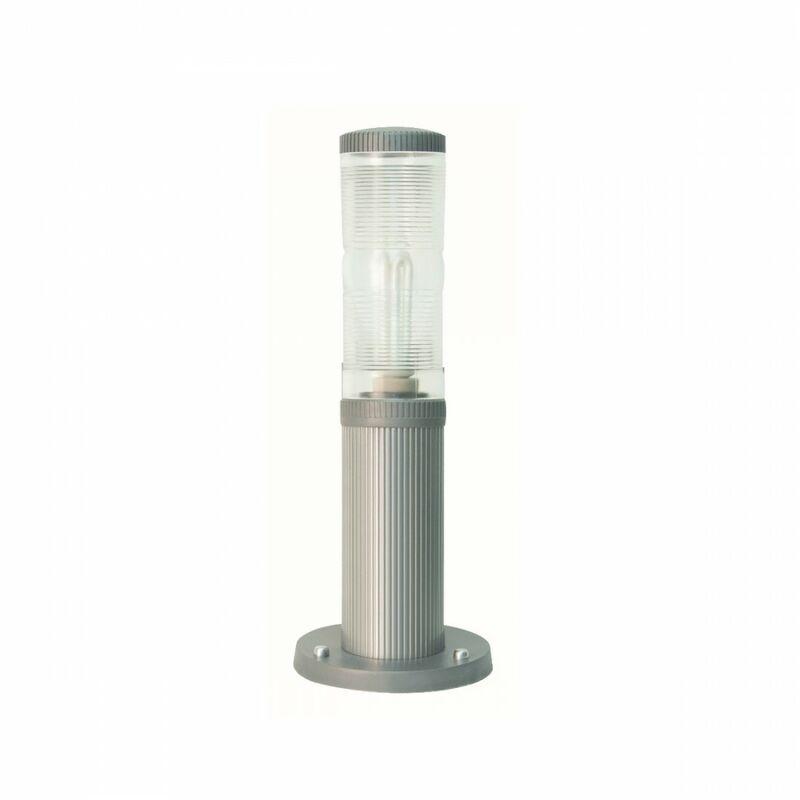Lampioncino moderno lampadari bartalini fresnel 4008 e27 led duralighting lampada terra, colore grigio