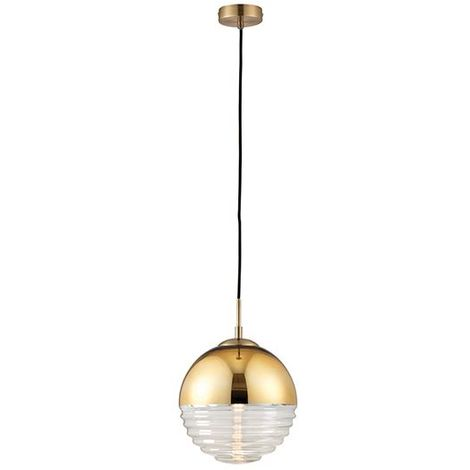 Paloma 1 Light Ceiling Pendant Light 40W Gold Effect Glass Industrial Style