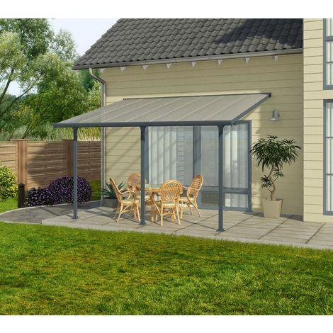 Palram Terrassendach, Terrassenüberdachung 300x1276 cm grau inkl. Regenrinnen und Befestigungskit
