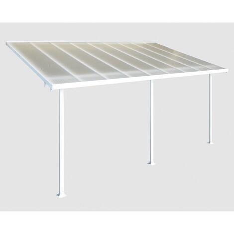 Palram Terrassendach, Terrassenüberdachung 300x546 cm weiß inkl. Regenrinnen und Befestigungskit