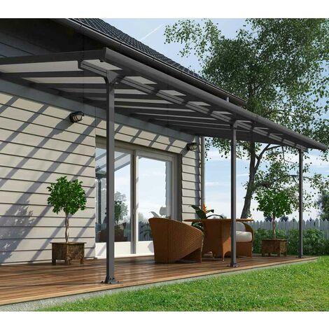 Palram Terrassendach, Terrassenüberdachung 300x610 cm grau inkl. Regenrinnen und Befestigungskit