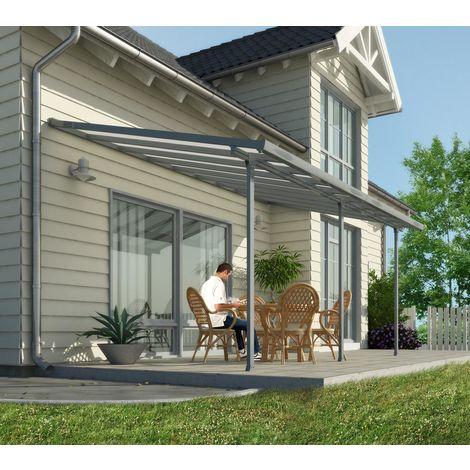 Palram Terrassendach, Terrassenüberdachung 300x730 cm grau inkl. Regenrinnen und Befestigungskit