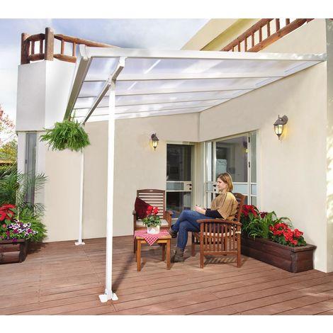 Palram Terrassendach, Terrassenüberdachung 300x730 cm weiß inkl. Regenrinnen und Befestigungskit