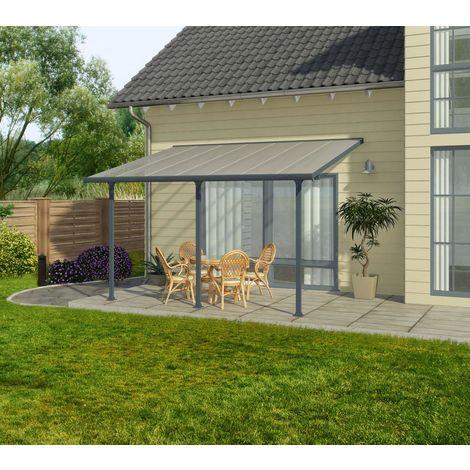 Palram Terrassendach, Terrassenüberdachung 300x971 cm grau inkl. Regenrinnen und Befestigungskit