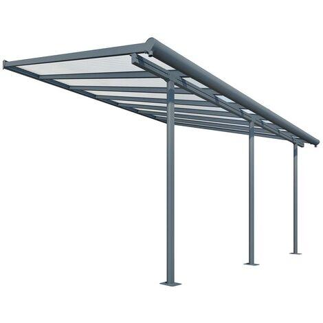 Palram Terrassendach, Terrassenüberdachung Sierra 299x555 cm grau inkl. Regenrinnen und Befestigungskit