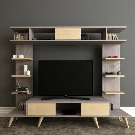 Pan TV Stand - with Doors, Shelves - for Living Room - Oak, Grey, made in Wood, 180 x 35 x 135 cm