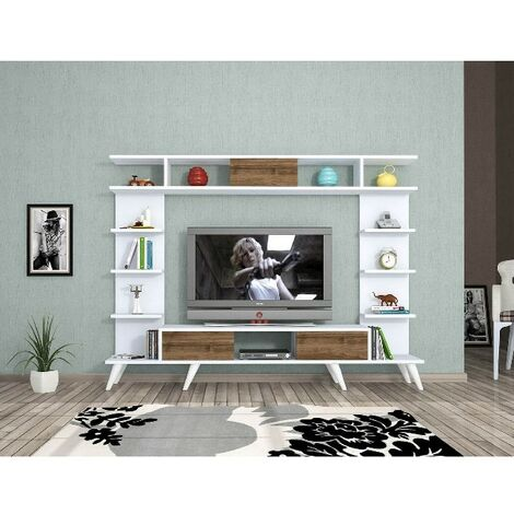 Pan TV Stand - with Doors, Shelves - for Living Room - White, Oak, made in Wood, 180 x 35 x 135 cm