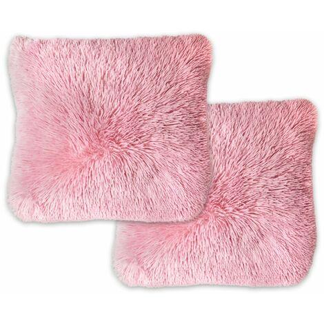 Panache Home Doux Faux Fur Cushion Cover, Pink, 43 x 43 Cm