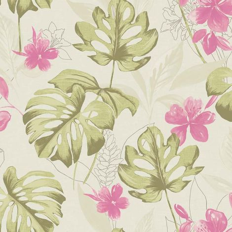 Panama Pink Sage Floral Wallpaper Flowers Metallic Shimmer Paste Wall Holden
