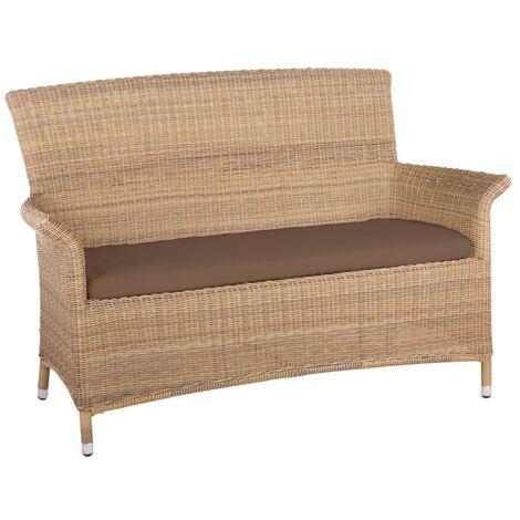 "main image of ""Panama Rattan 2 Seater Arm Sofa in 4 Seasons with Brown Cushions"""