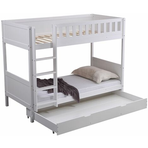 """main image of """"Panana Wooden Bunk Bed with Large Storage Drawer, Available in Grey and White"""""""