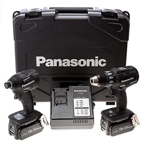 Panasonic 18 V Cordless Combi Drill/impact Driver With 2 5 A Batteries (pack Of 2)